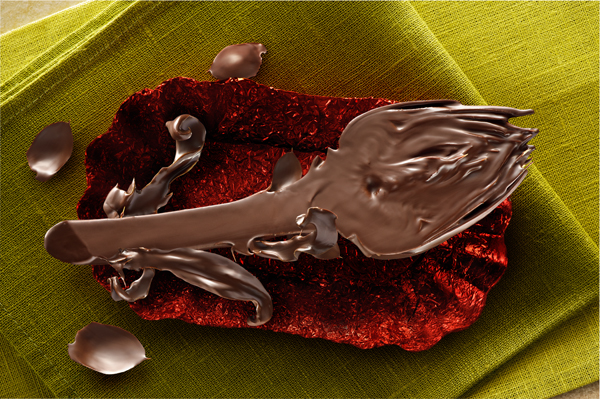 dark chocolate covered artichoke in a red paper cup on green tableset by maurizio lodi.