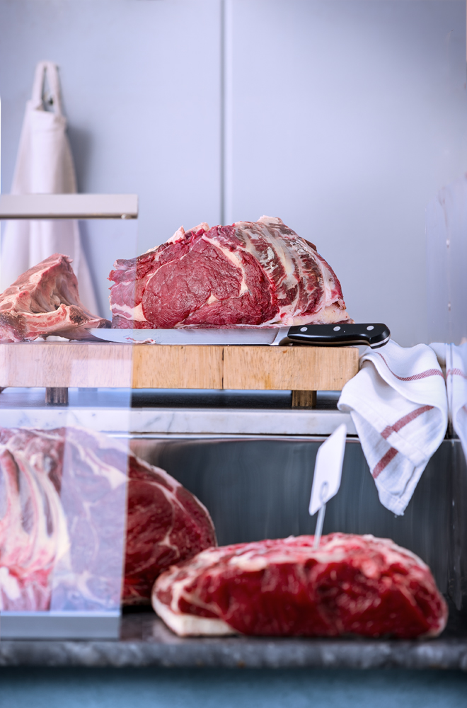 beef in a vintage butchery